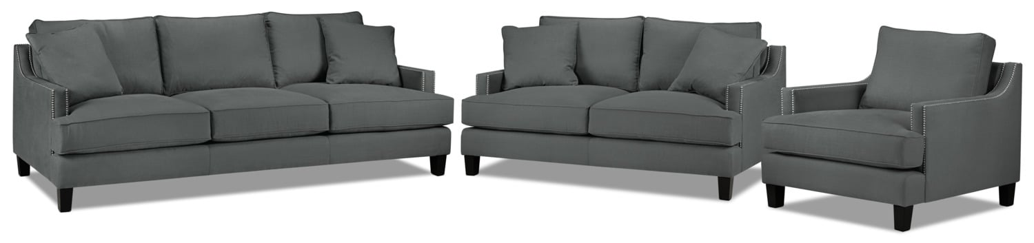 Jules Sofa, Loveseat and Chair Set - Charcoal