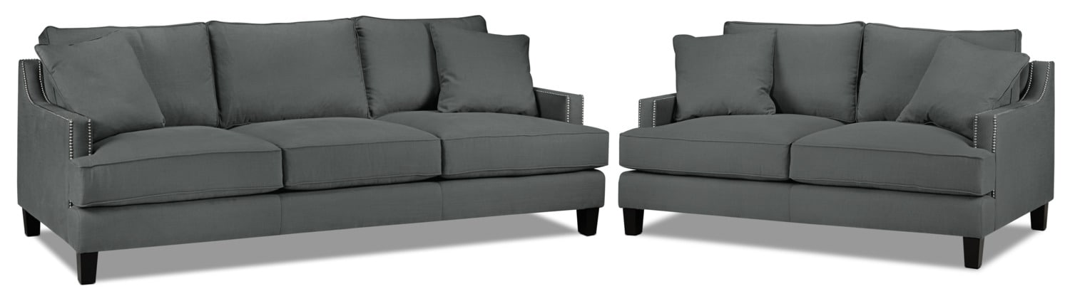 Jules Sofa and Loveseat  Set - Charcoal