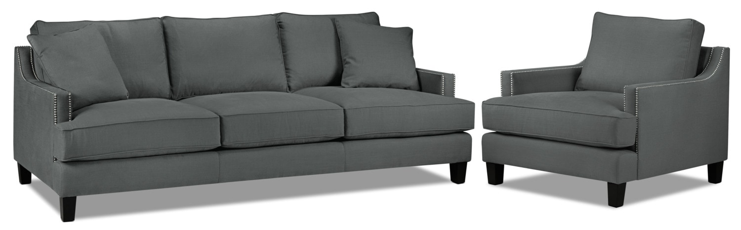Jules Sofa and Chair Set - Charcoal