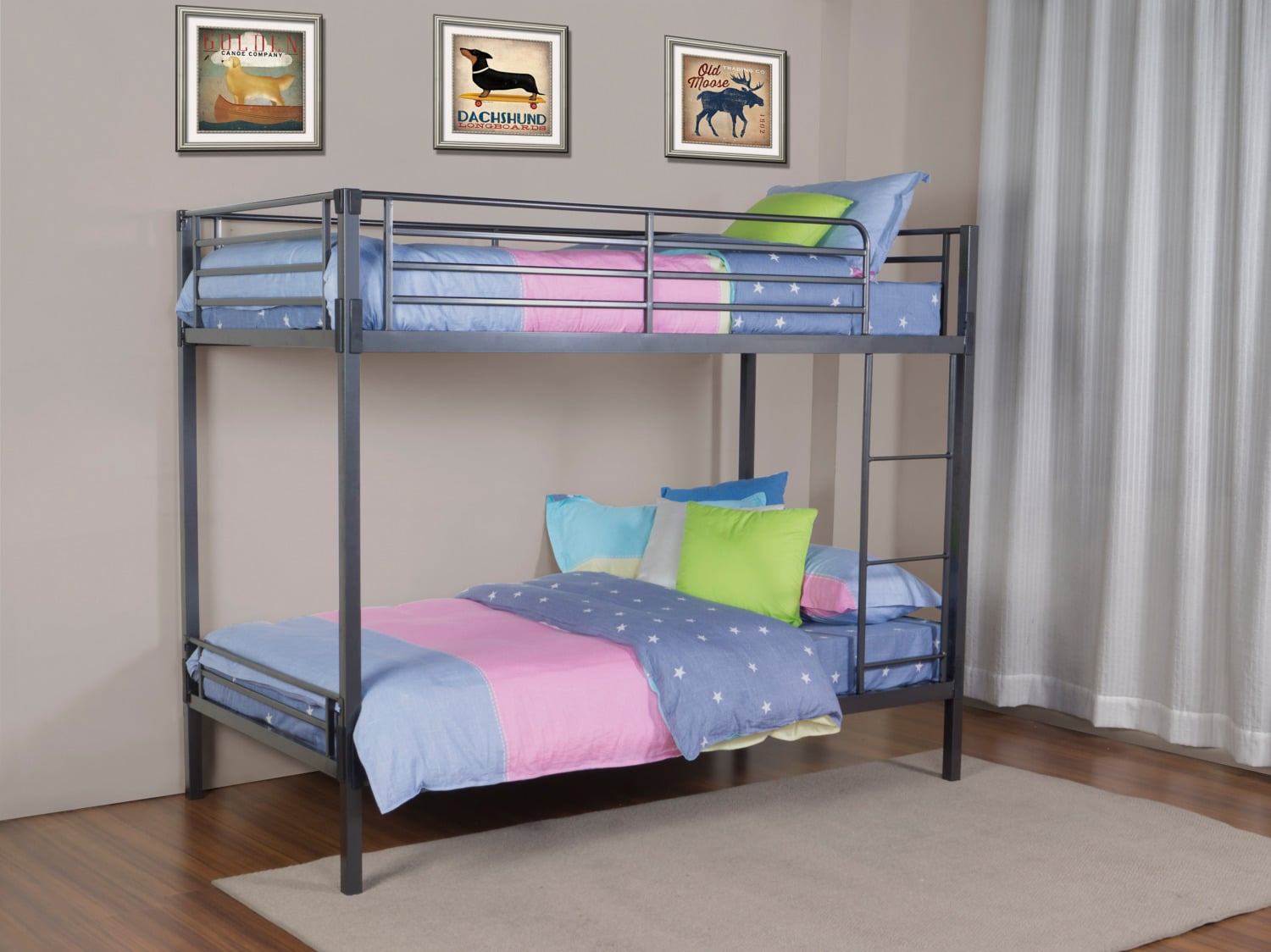 Bedroom Furniture - Delaney Twin Over Twin Bunk Bed - Grey