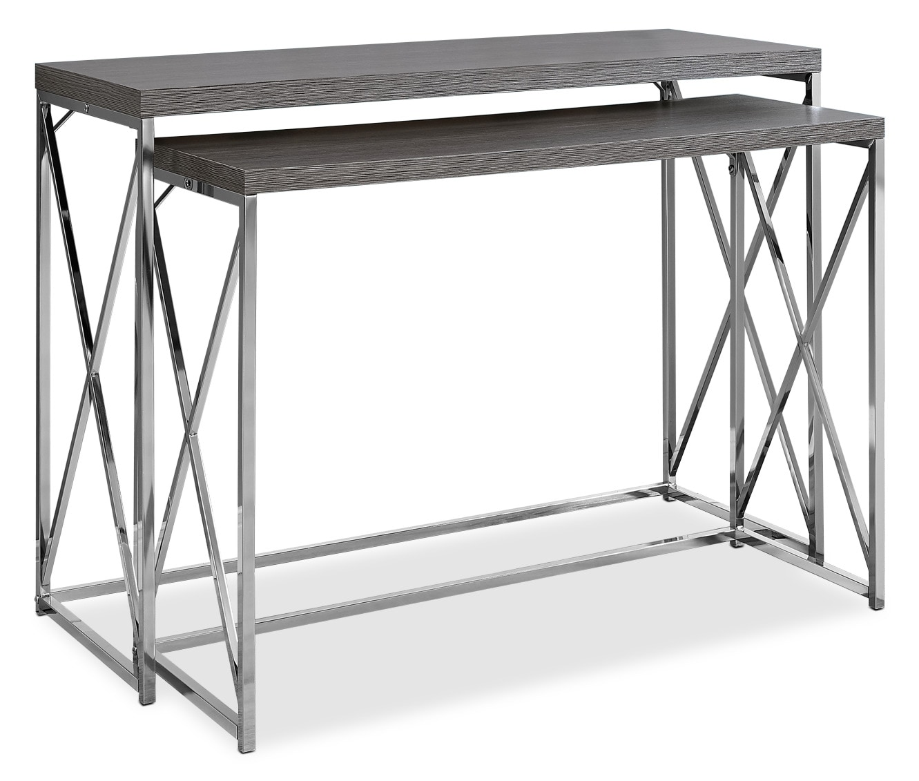 Online Only - Stark 2-Piece Sofa Table - Wood-Grain Grey