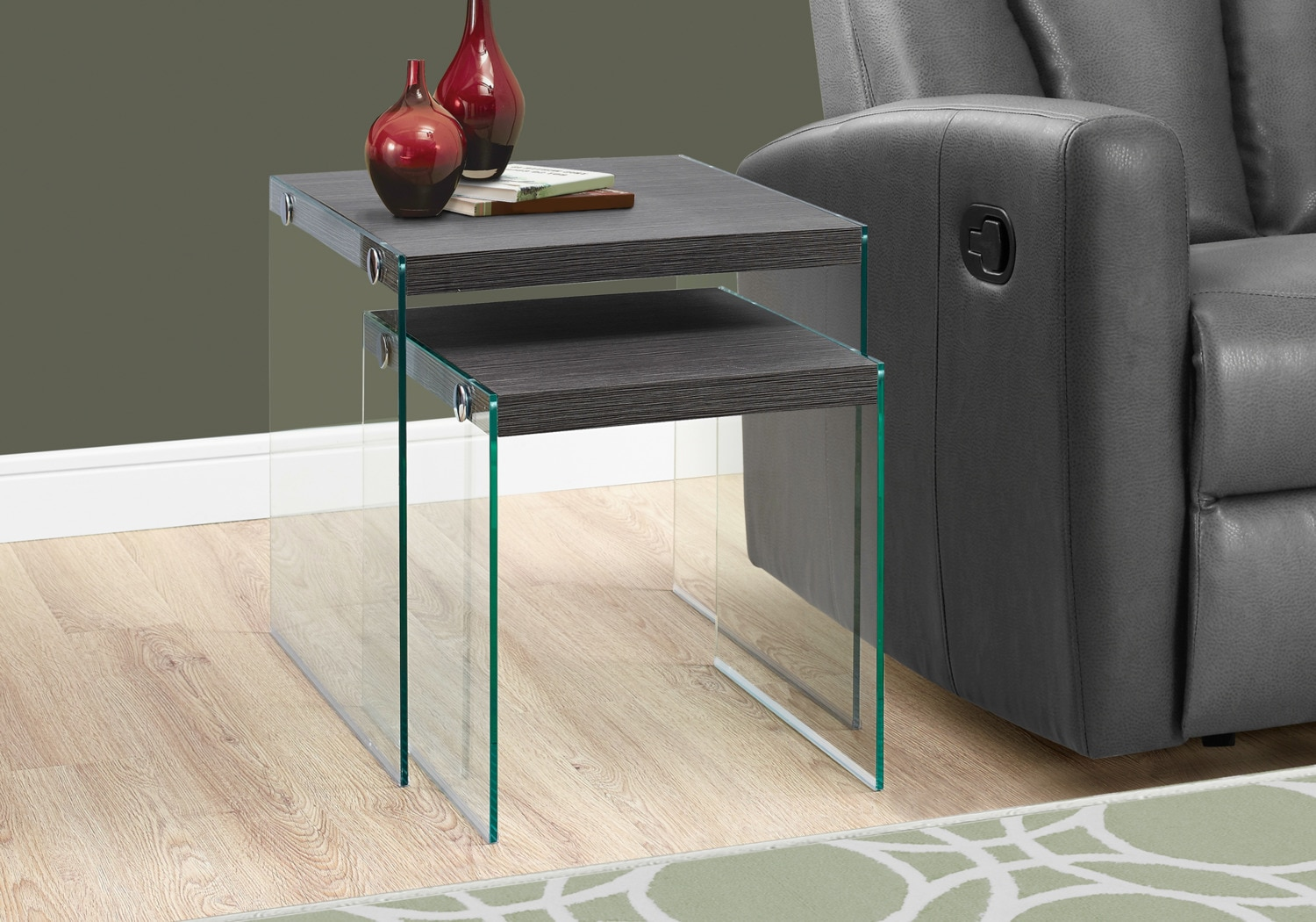 Online Only - Sargent Nesting Tables - Wood-Grain Grey