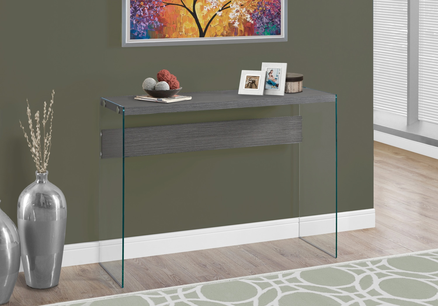 Online Only - Sargent Sofa Table - Wood-Grain Grey