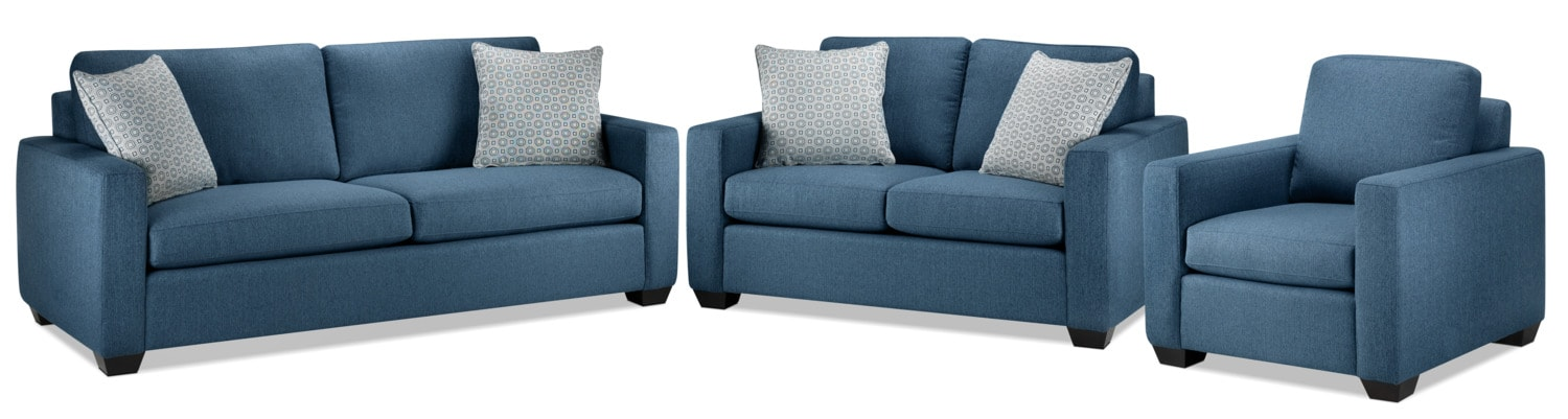 Hilary Sofa, Loveseat and Chair Set - Blue