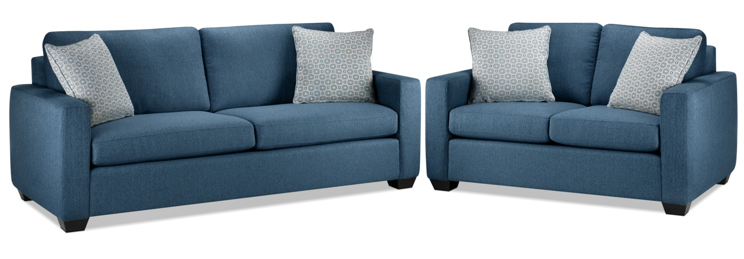 Hilary Sofa and Loveseat - Blue