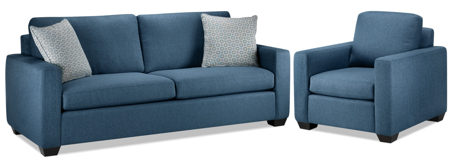 Hilary Sofa and Chair Set - Blue