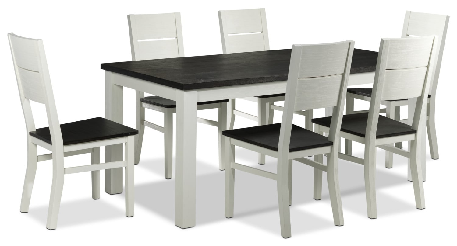 Alliston 7-Piece Dinette - White and Dark Brown