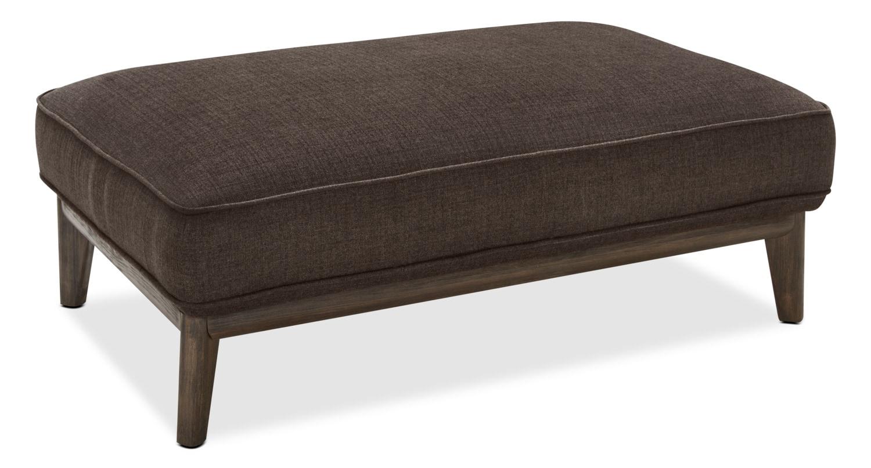 Living Room Furniture - Gena Linen-Look Fabric Ottoman – Fudge