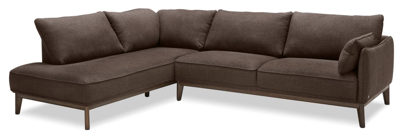 Gena 2-Piece Linen-Look Fabric Left-Facing Sectional – Fudge