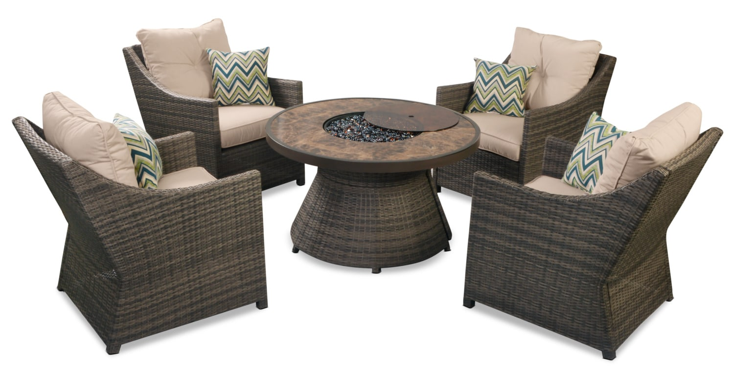Tulum 5-Piece Patio Fire Table Package