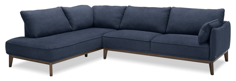 Living Room Furniture - Gena 2-Piece Linen-Look Fabric Left-Facing Sectional – Midnight