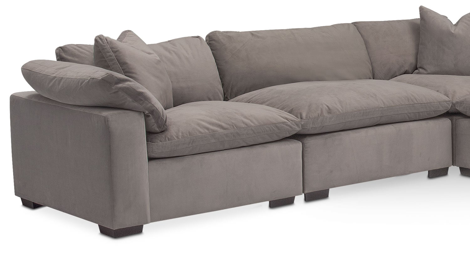 Plush 5 piece sectional gray american signature furniture for 5 piece grey sectional sofa