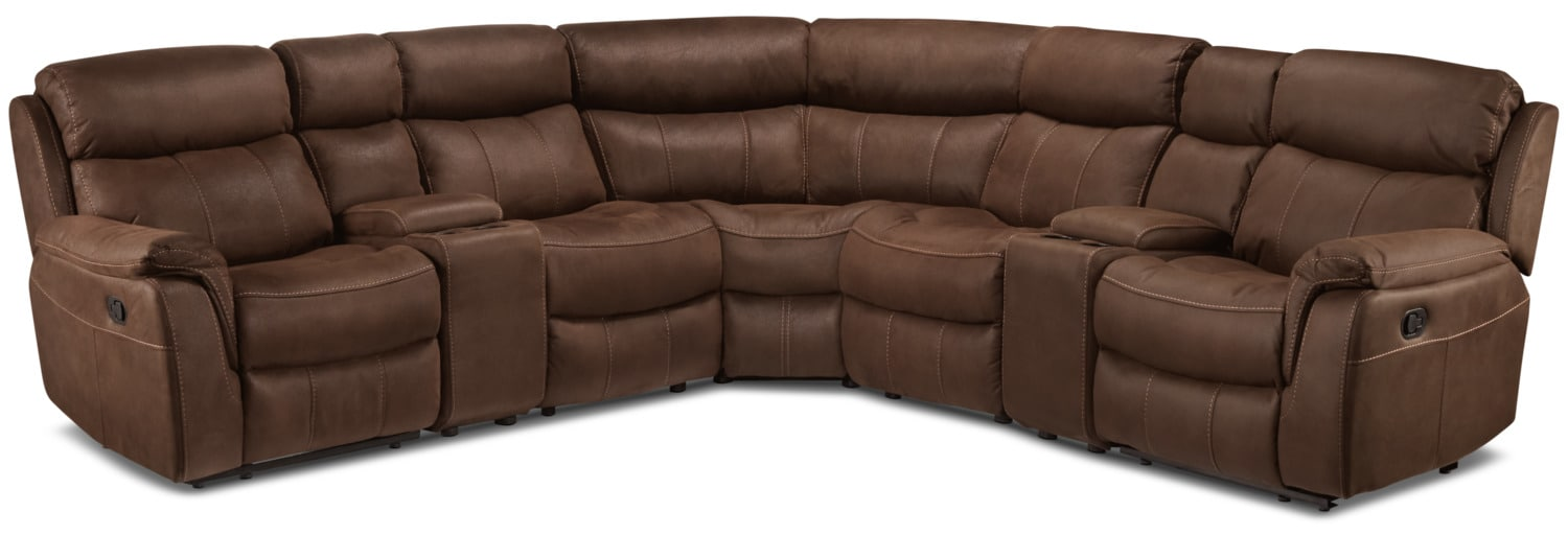 Living Room Furniture - Vaquero 7-Piece Reclining Sectional - Saddle Brown