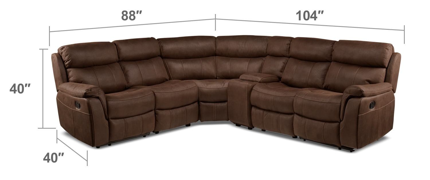 Living Room Furniture - Vaquero 6-Piece Reclining Sectional - Saddle Brown