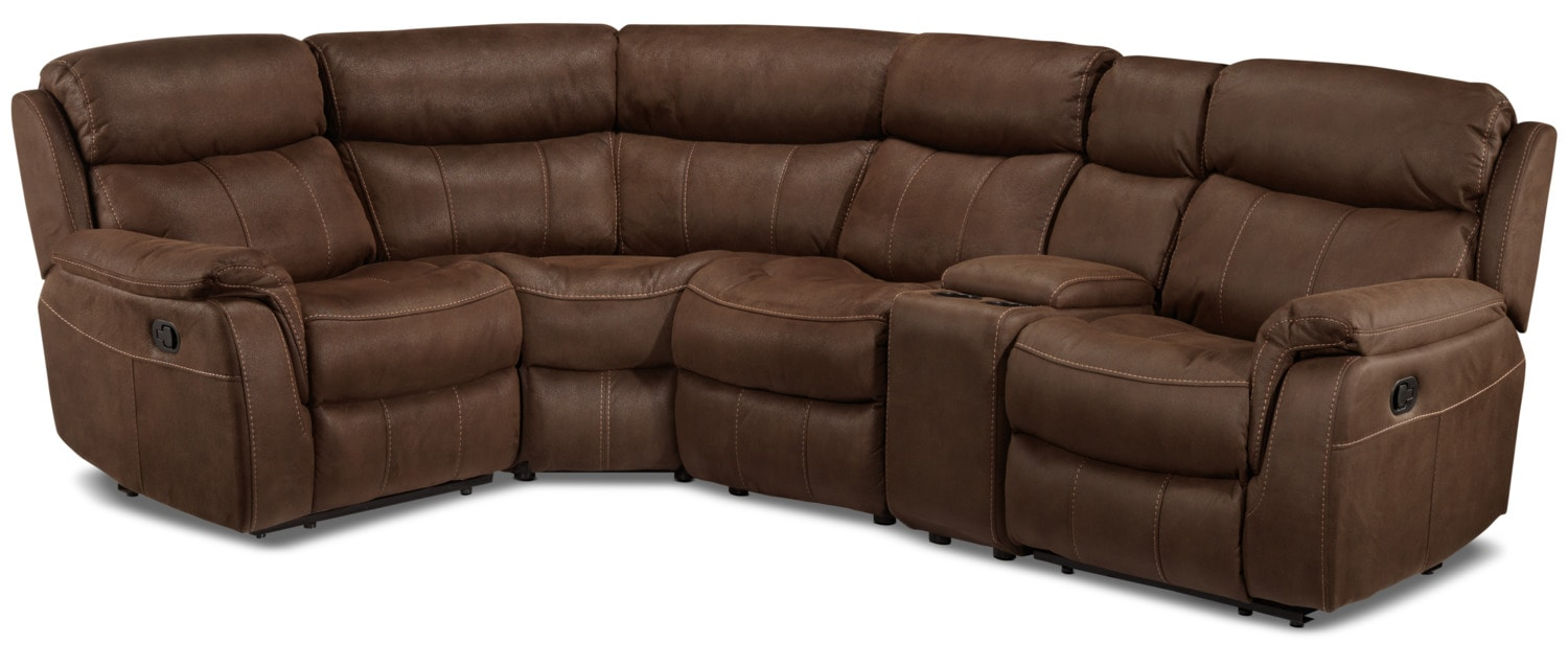 Vaquero 5-Piece Reclining Sectional with Console - Saddle Brown