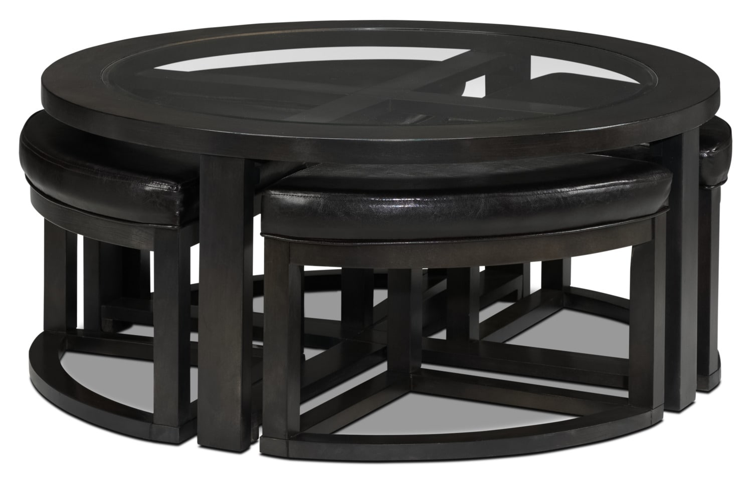 Emma Coffee Table w/ Four Ottomans - Charcoal Grey