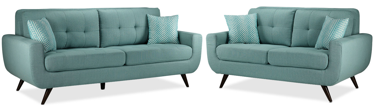 Julian Sofa and Loveseat Set - Teal