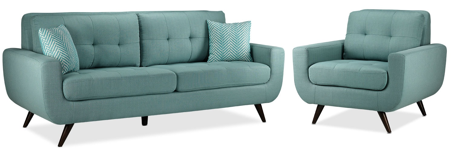 Julian Sofa and Chair Set - Teal