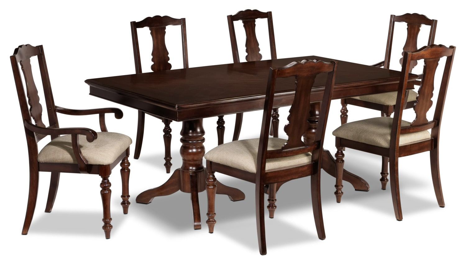 Alice 7 piece dining room set cherry leon 39 s for 7 piece dining room set