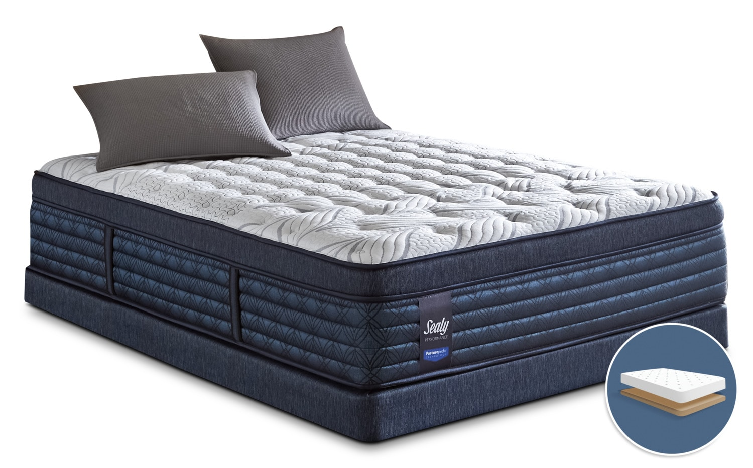 Mattresses and Bedding - Sealy Posturepedic Hockenheim Euro-Top Firm Low-Profile King Mattress Set