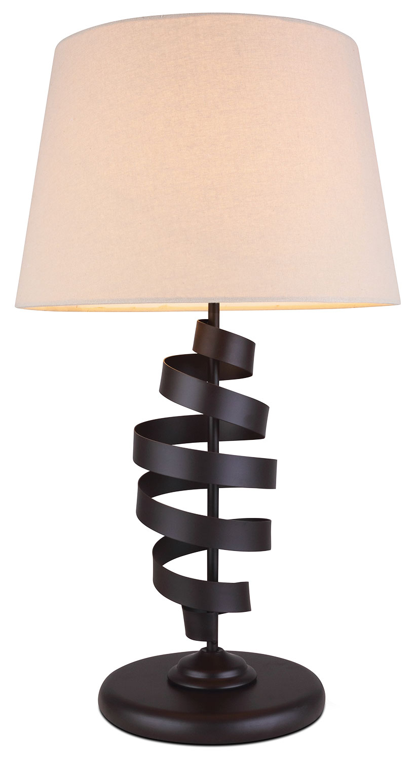 Brown Metal Scroll Table Lamp