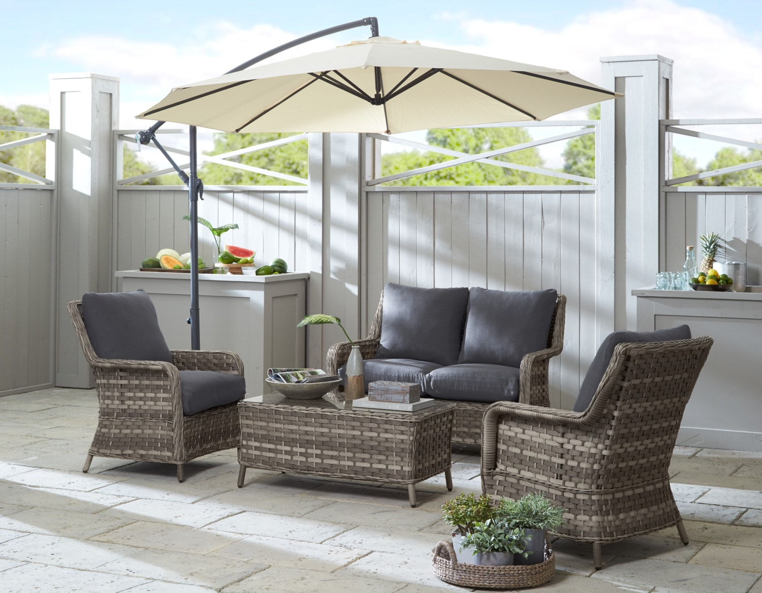 Outdoor Furniture - Aosta 4-Piece Conversation Set - Grey
