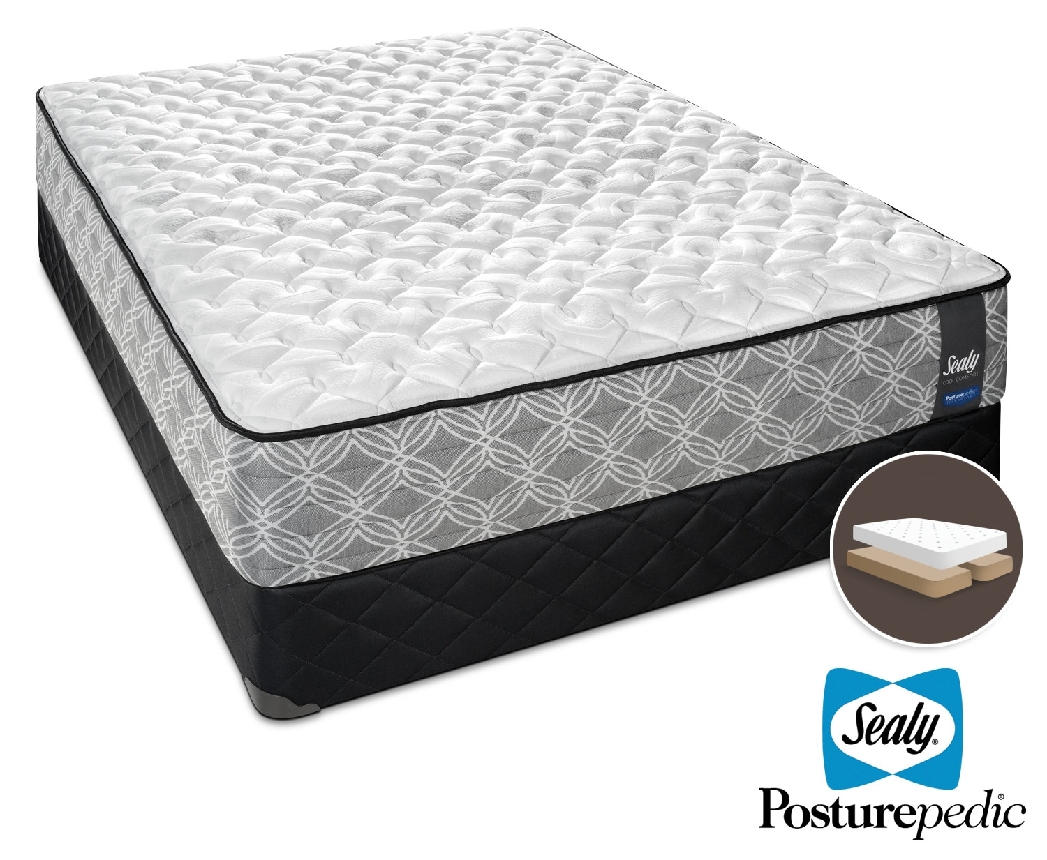 Sealy Moonbeam Firm King Mattress and Split Boxspring Set