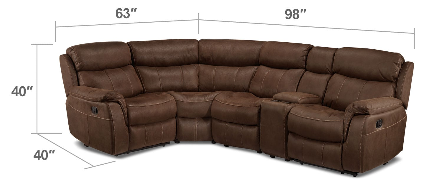 Living Room Furniture - Vaquero 5-Piece Reclining Sectional with Console - Saddle Brown