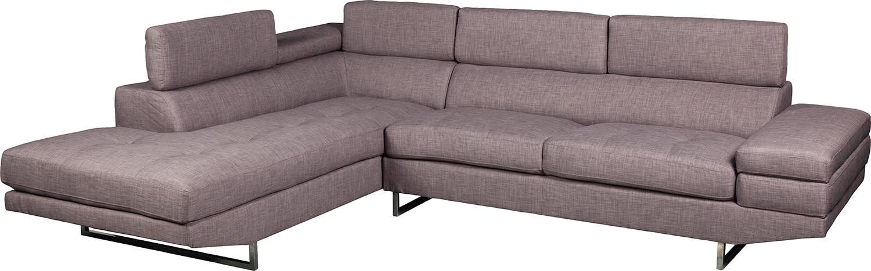 Mobilier de salle de séjour - Sofa sectionnel de gauche Zeke en tissu apparence lin - platine