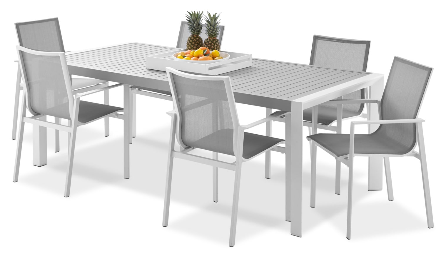 outdoor furniture biscayne 9 piece outdoor dining set light grey