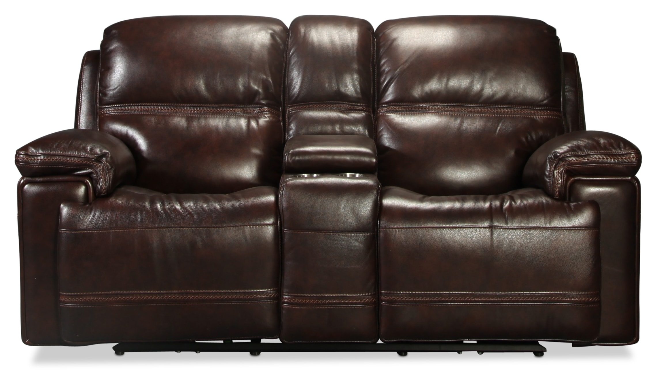 Diego Power Console Loveseat - Dark Brown