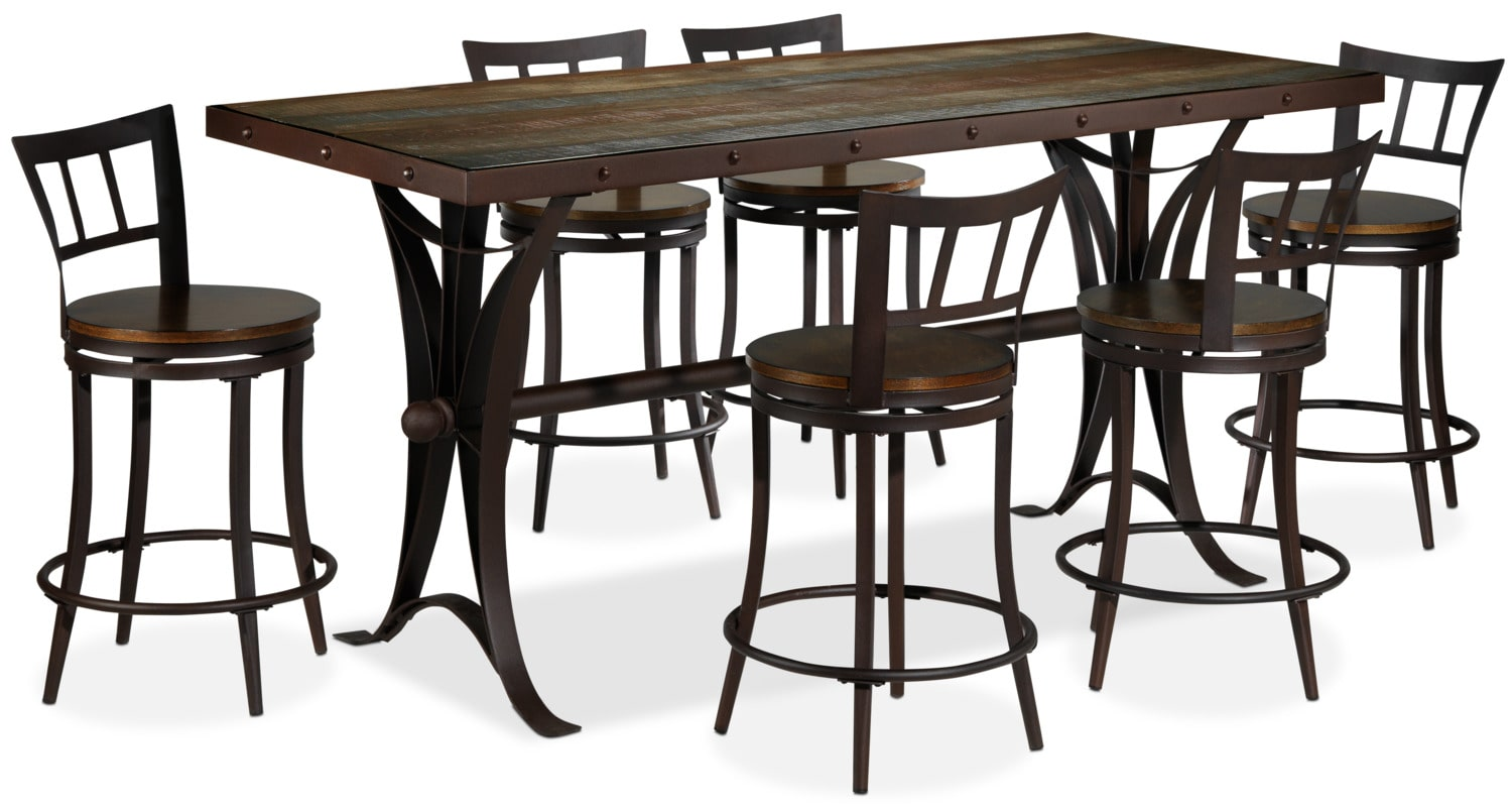 Arizona 7 piece pub height dining set rust and pine leon 39 s for 7 piece dining set