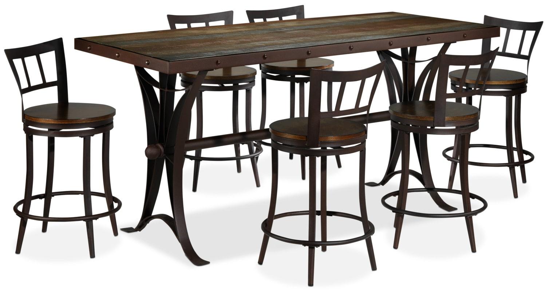 Arizona 7 piece pub height dining set rust and pine leon 39 s - Pub dining room sets ...