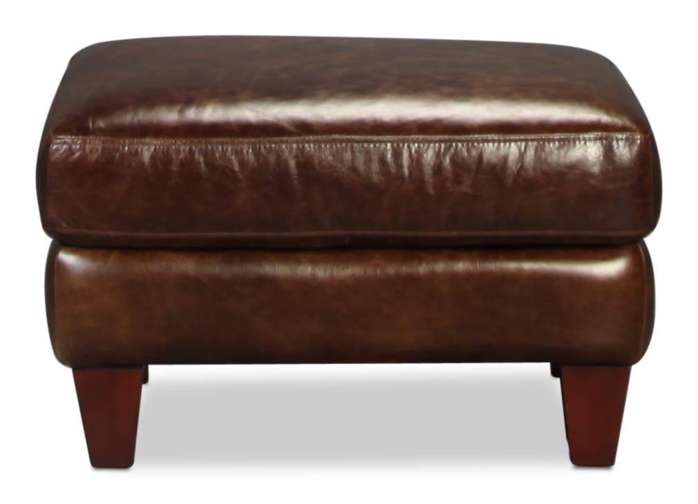 Natalia Leather Ottoman - Cigar