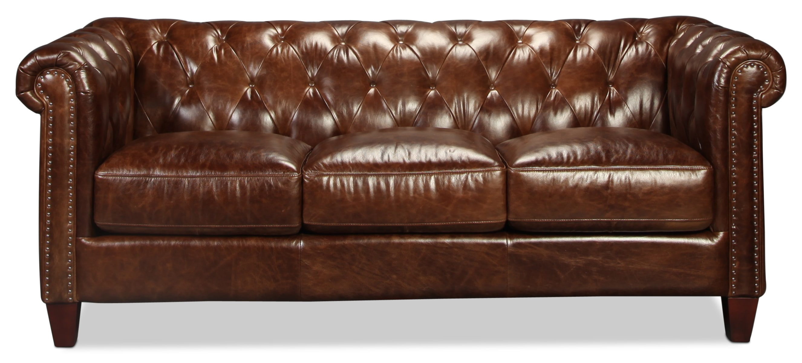 Natalia Leather Sofa - Cigar