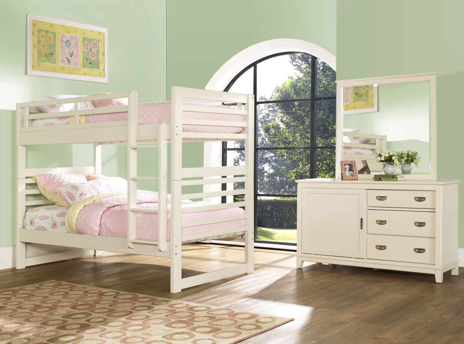 Kids Furniture - Chadwick 5-Piece Bedroom Package with Twin Bunk Bed – White