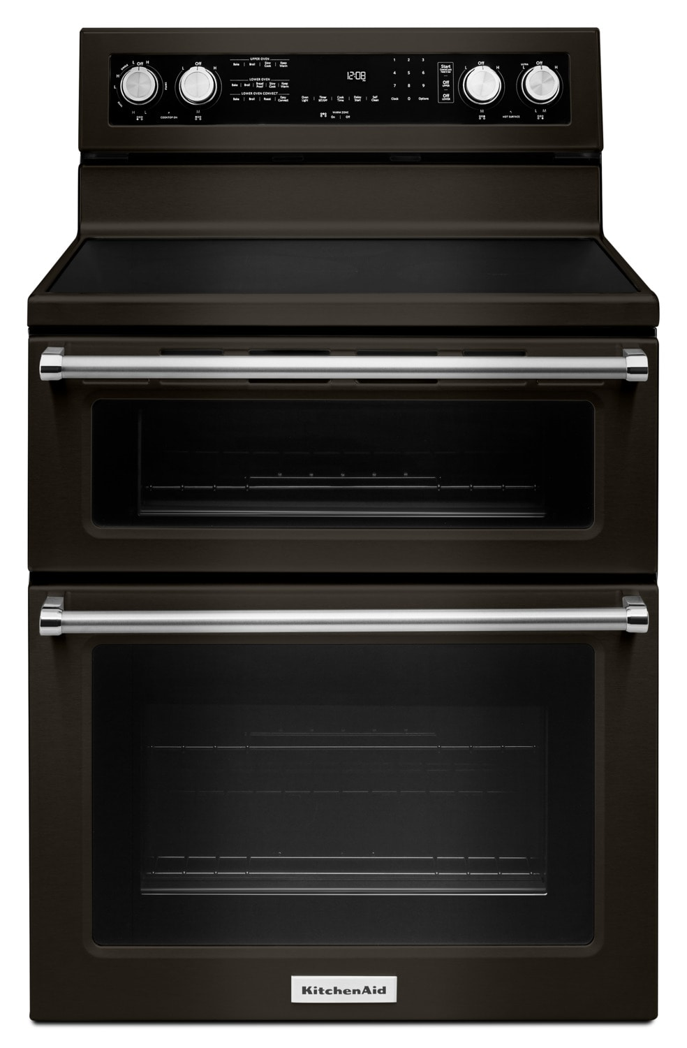 KitchenAid Black Stainless Steel Freestanding Electric Double Oven Range (6.7 Cu. Ft.) - YKFED500EBS