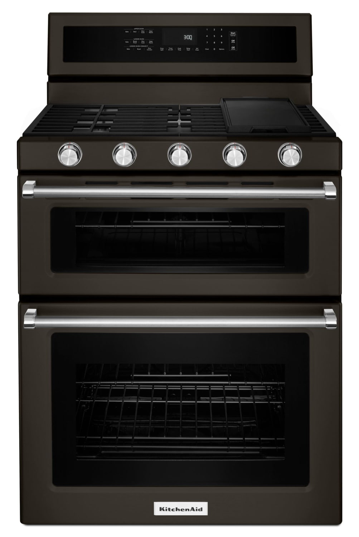 KitchenAid Black Stainless Steel Freestanding Gas Double Oven Range (6.0 Cu. Ft.) - KFGD500EBS