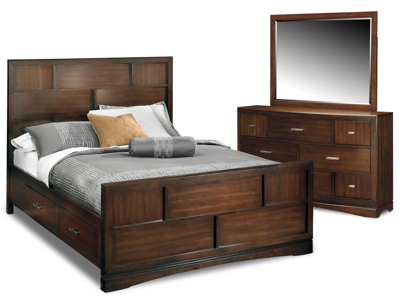 Toronto 5 piece king storage bedroom set pecan for Bedroom furniture package deals
