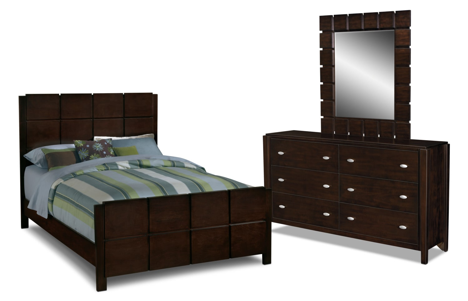 bedroom furniture mosaic 5 piece queen bedroom set dark brown