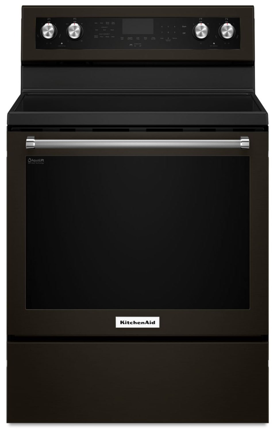 KitchenAid Black Stainless Steel Freestanding Electric Convection Range (6.4 Cu. Ft.) - YKFEG500EBS
