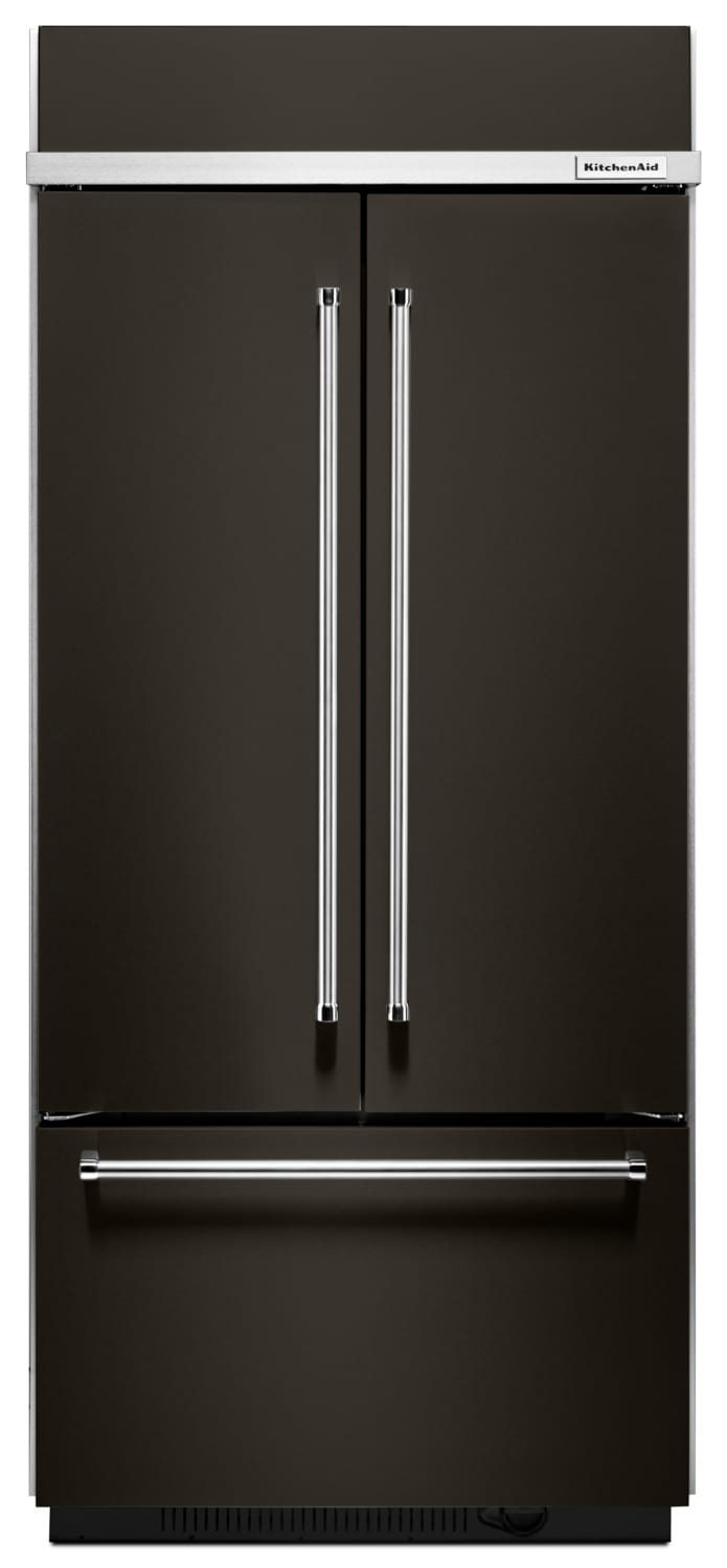 KitchenAid Black Stainless Steel French Door Refrigerator (20.8 Cu. Ft.) - KBFN506EBS