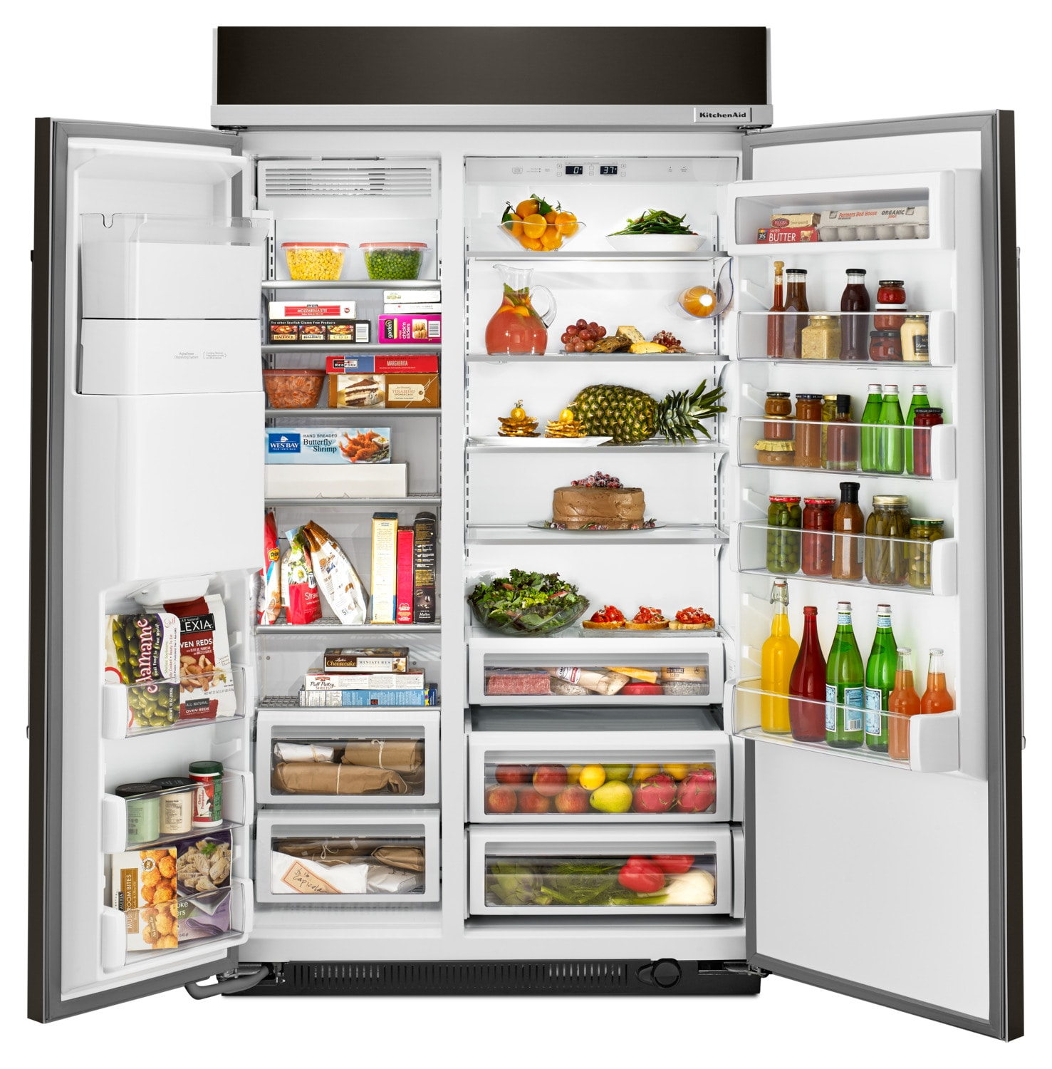Kitchenaid Black Stainless Steel Side By Side Refrigerator: KitchenAid Black Stainless Steel Side-by-Side Refrigerator (29.5 Cu. Ft) - KBSD608EBS