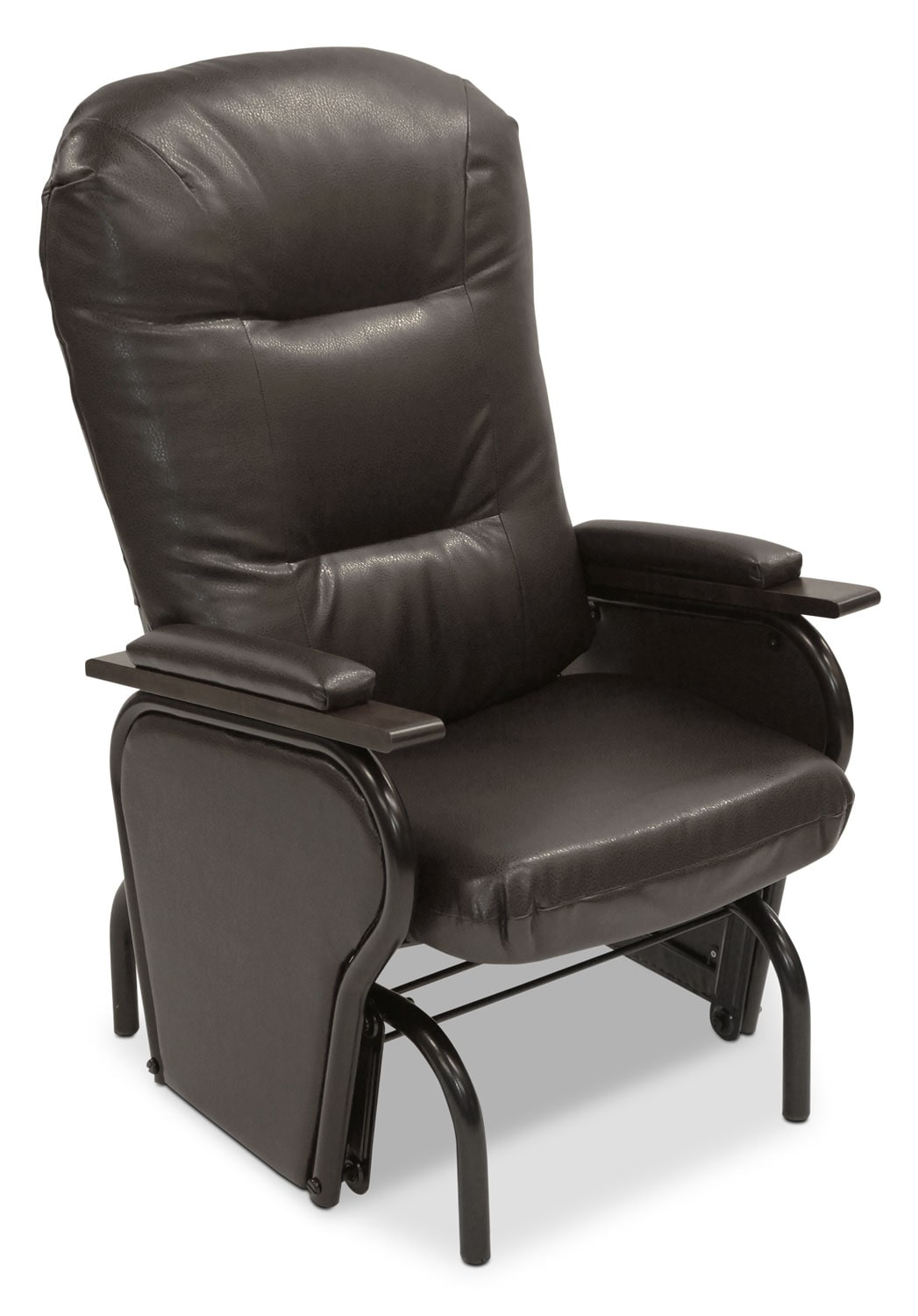 Ryker Bonded Leather Glider Chair – Brown