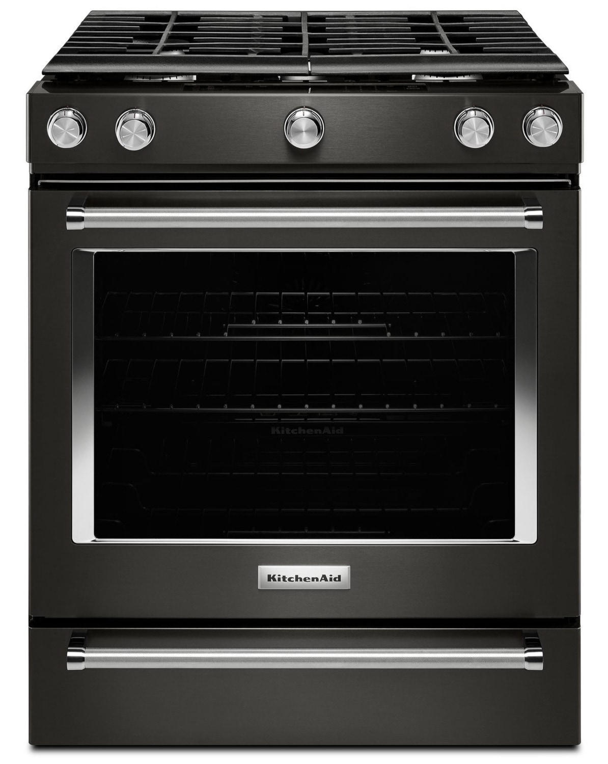KitchenAid Black Stainless Steel Slide-In Gas Convection Range (5.8 Cu. Ft.) - KSGG700EBS