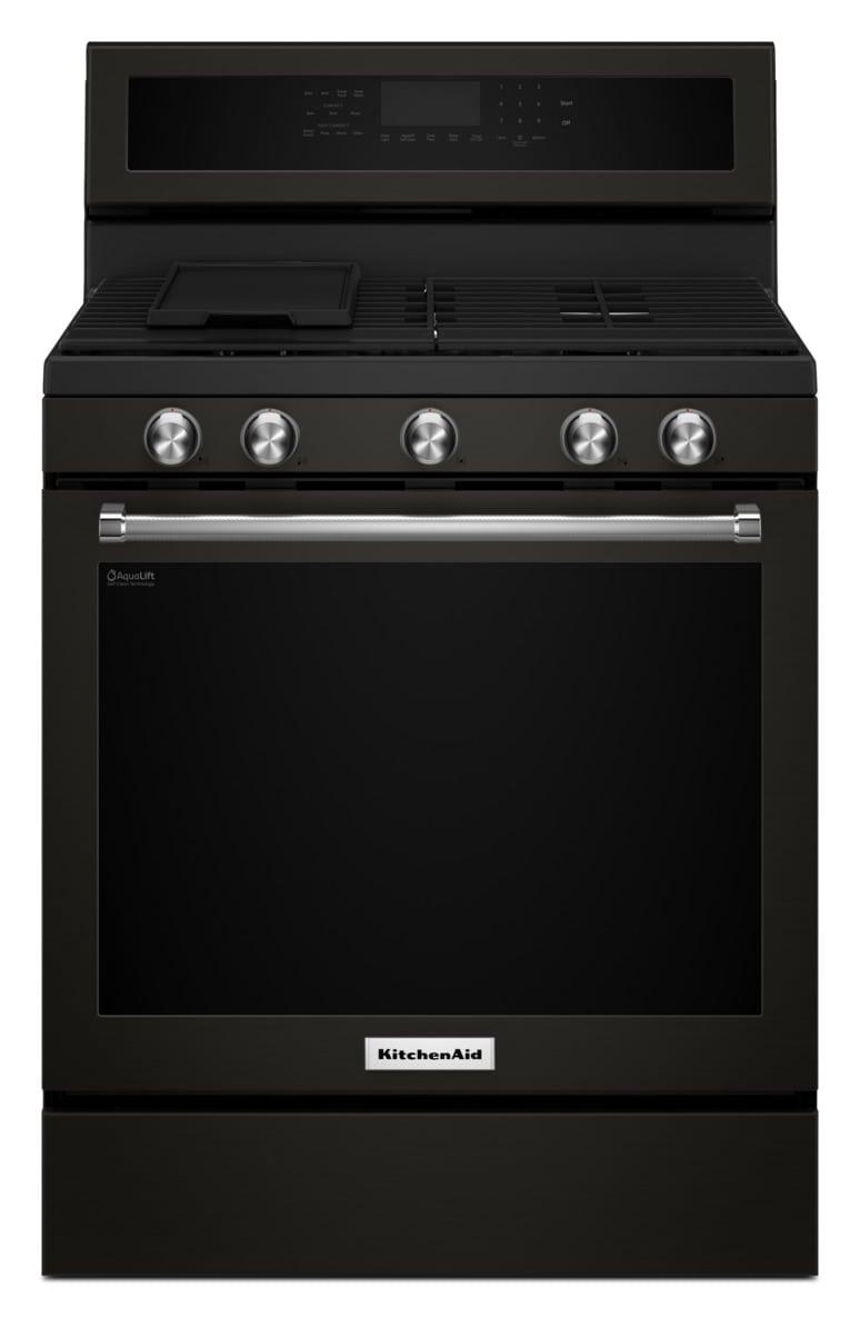 KitchenAid Black Stainless Steel Freestanding Gas Convection Range (5.8 Cu. Ft.) - KFGG500EBS