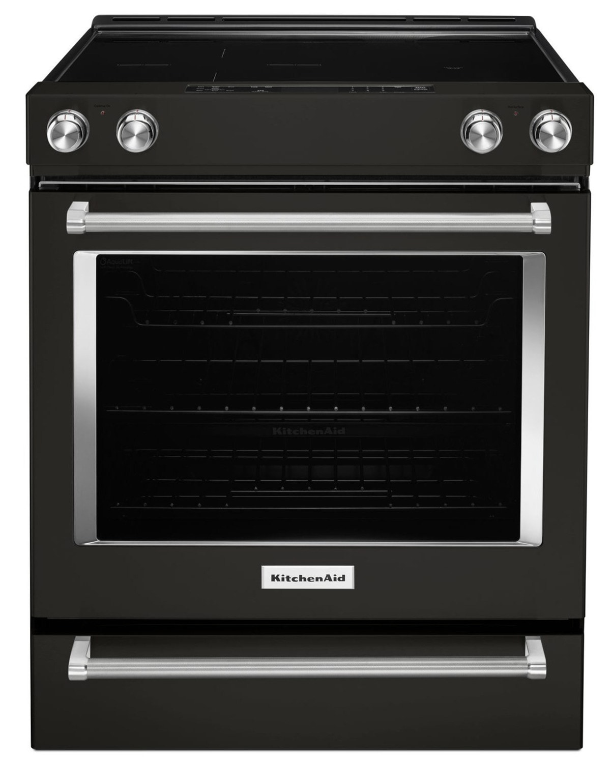 KitchenAid Black Stainless Steel Slide-In Electric Convection Range (6.4 Cu. Ft.) - YKSEG700EBS