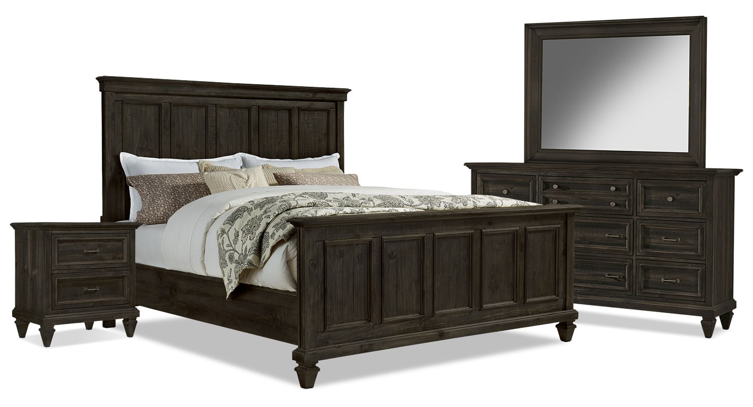 Bedroom Furniture - Calistoga 6-Piece King Bedroom Package - Weathered Charcoal