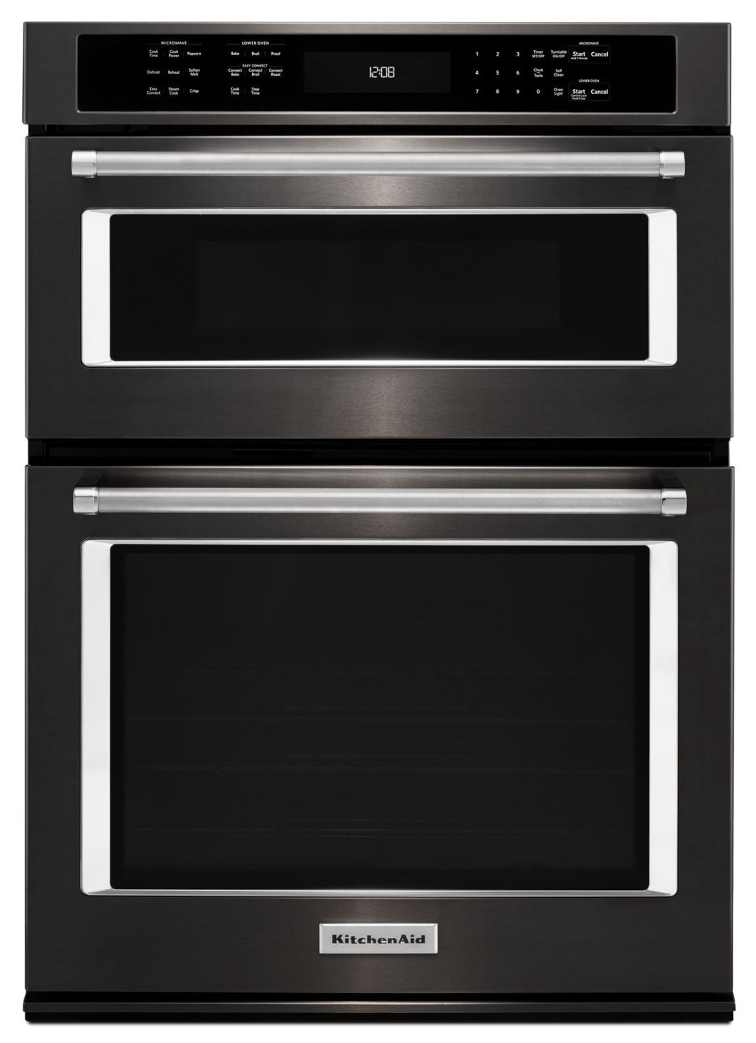 KitchenAid Black Stainless Steel Wall Oven (4.3 Cu.Ft.) w/ Microwave (1.4 Cu. Ft.) - KOCE507EBS