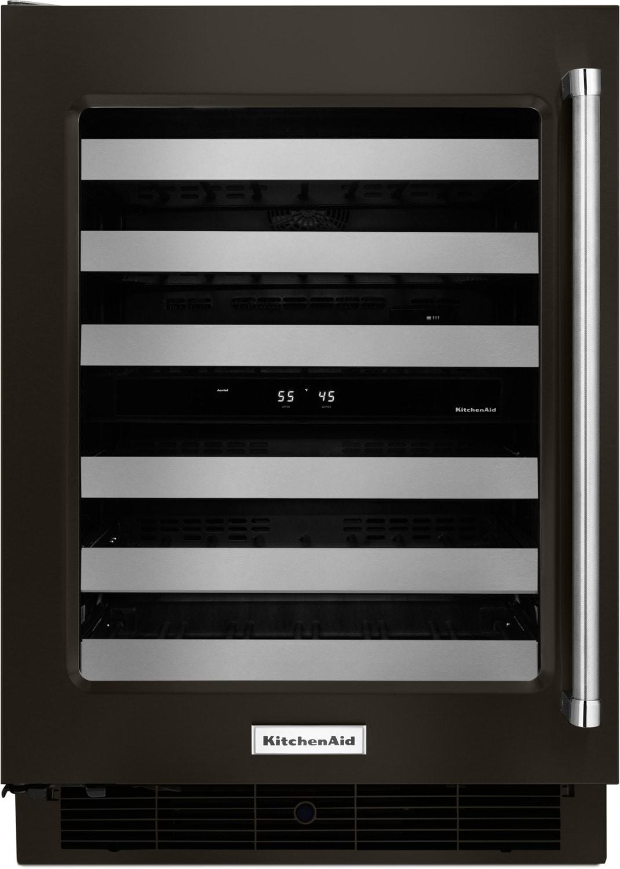 KitchenAid Black Stainless Steel Wine Cooler (4.7 Cu. Ft.) w/ Left-Door Swing - KUWL304EBS